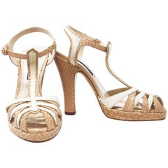Ralph Lauren Suede/Python Sandal with high heel, Size 6B