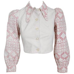 1968 Zandra Rhodes Couture Teddy Bear Novelty Print White Denim Cropped Jacket