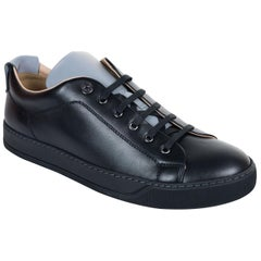 Lanvin Mens Black Calfskin Two Tone Lace Up Low Top Sneakers