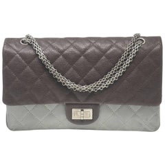 CHANEL Two-Toned Brown/Grey 2.55 Reissue Classic 227 Flap Handbag