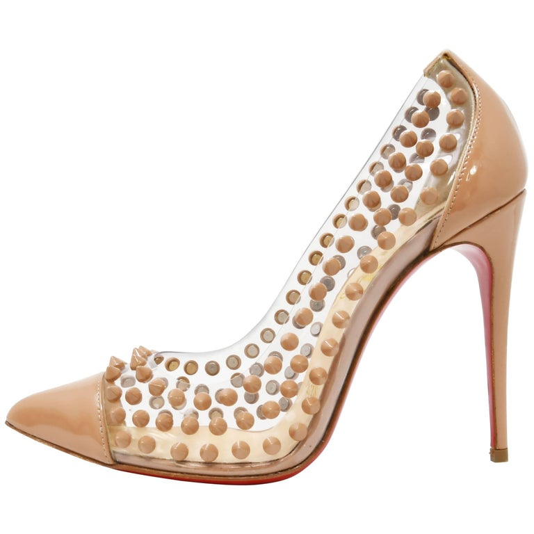 c3f6a3a270c Christian Louboutin  Spike Me  PVC Patent Leather Pointed Toe Pumps Nude  Size 36 For