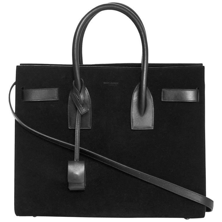 2d785e917c7c Yves Saint Laurent Black Suede and Leather Small Sac De Jour Bag with Strap  For Sale