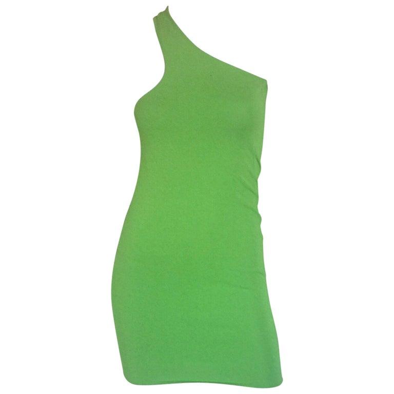 Gianni Versace lime green body con mini dress