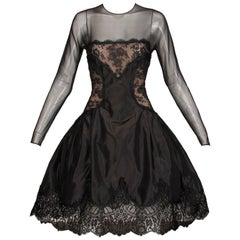 1990s Arnold Scaasi Vintage Black Silk Nude Illusion Chantilly Lace Dress