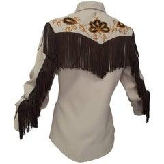 H Bar C Ranchwear Fringed Western Rhinestone Cowboy Shirt, 1960s