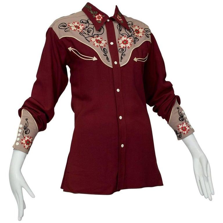 J Bar S Gabardine Western Shirt with Caballero Cuffs, 1940s