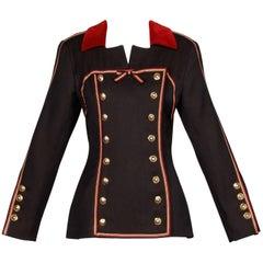 1990s Gemma Kahng Vintage Wool + Velvet Double Breasted Military Blazer Jacket