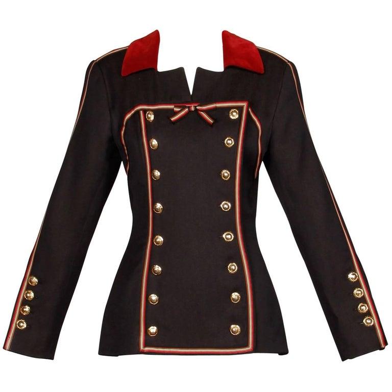 1990s Gemma Kahng Vintage Wool + Velvet Double Breasted Military Blazer Jacket For Sale