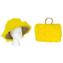 Marabou Feather Bucket Hat and Tote Bag Set, 1960s