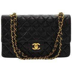 """Chanel Vintage 2.55 10"""" Double Flap Black Quilted Leather Shoulder Bag"""