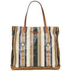 Gucci Brown Striped Coated Canvas Tote Bag