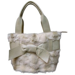 Italian Blonde Mink Fur Ivory Leather Handbag
