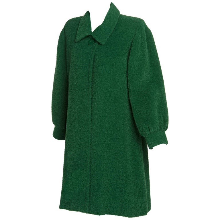 1995 Fall/ Winter Givenchy Haute Couture Green Textured Wool Coat