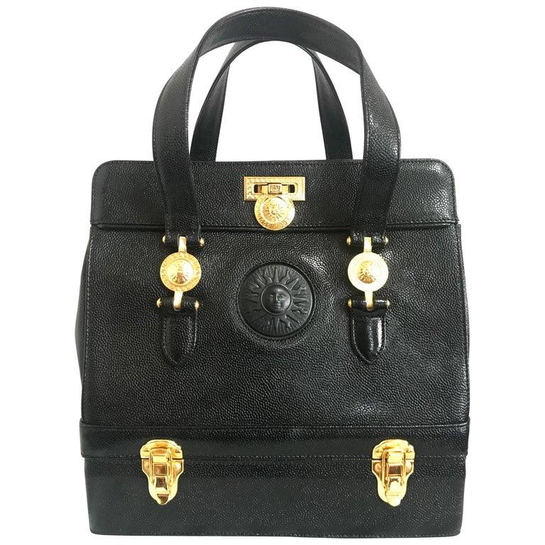Versace Versace Black Dark Blue Patent Leather Speedy Unworn BqstRQev