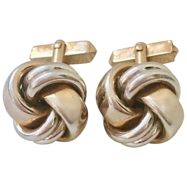 """VIntage Pair Of Two Tone """"Love Knot"""" Cufflinks By, Swank For Sale"""