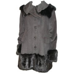 Fantastic Burberry Prorsum Sold Out RTP $8600 Fur Trimmed Coat Size FR44 / 14US