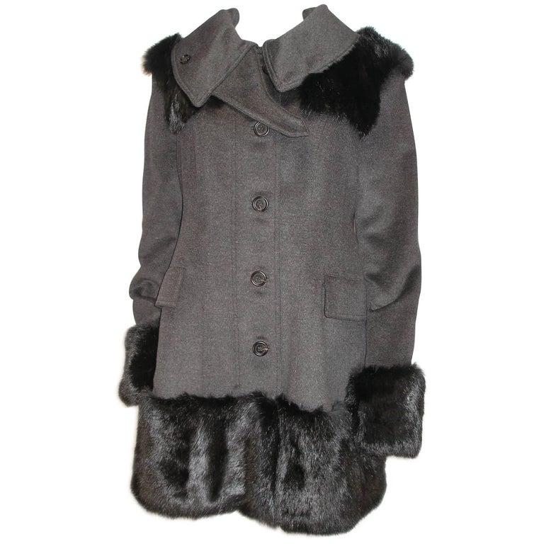 Fantastic Burberry Prorsum Sold Out RTP $8600 Fur Trimmed Coat Size FR44 / 14US