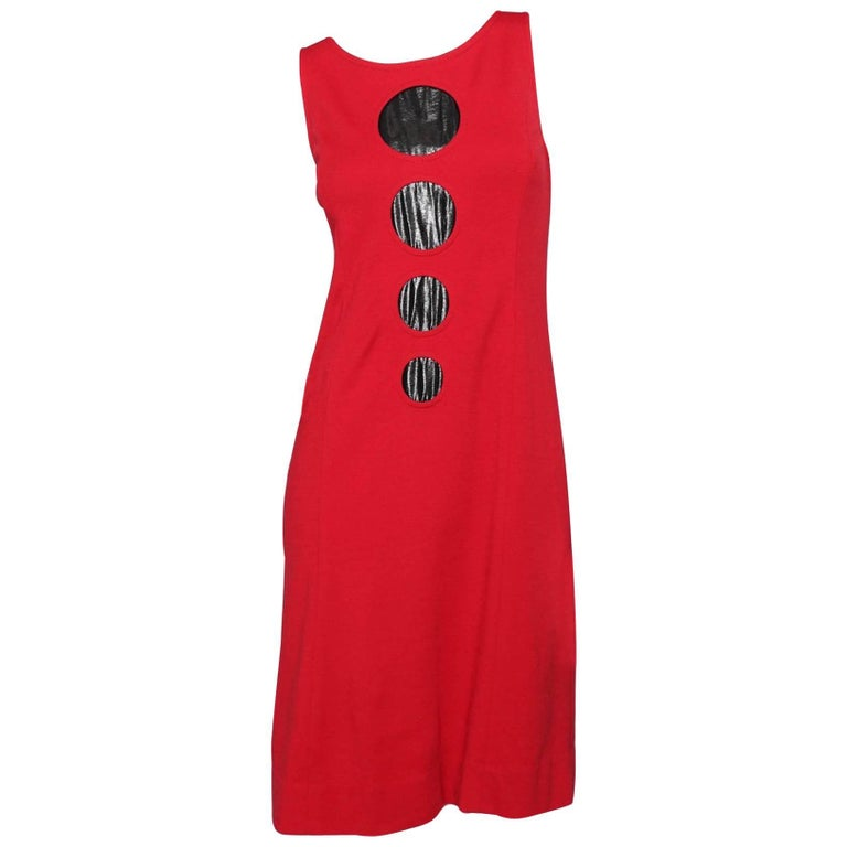 A 60s Vintage Pierre Cardin Red Space Age Dress