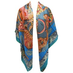 "Hermès 140cm /55 ""GM Shawl Zenobi By Annie Faivre Cashmere / Brand New"
