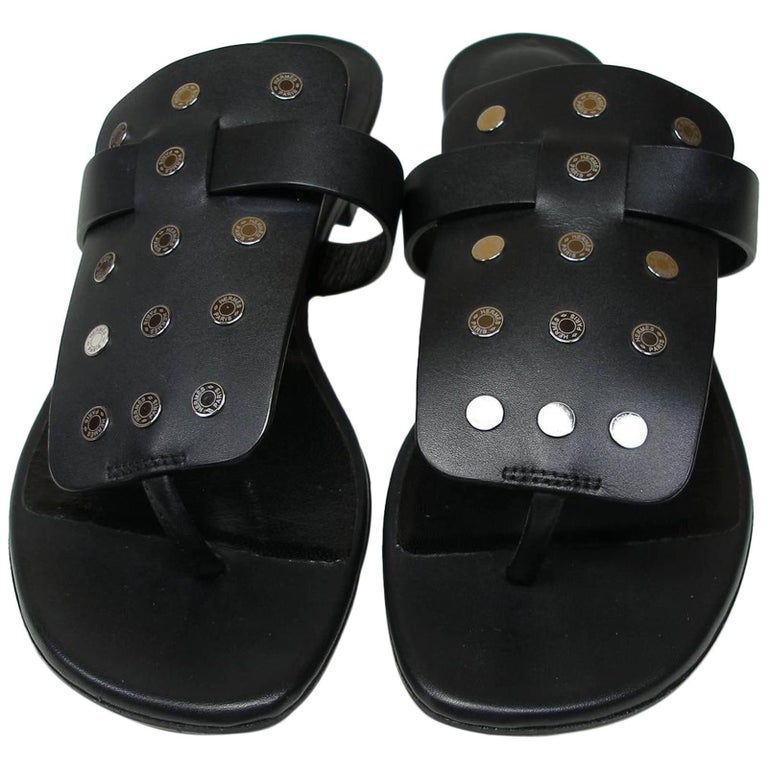 Hermès Sandales Opium Clou de Selle Black Leather Size 38 / Brand New in Box