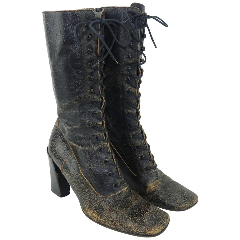 Miu Miu Distressed Brown Leather Lace Up Boots