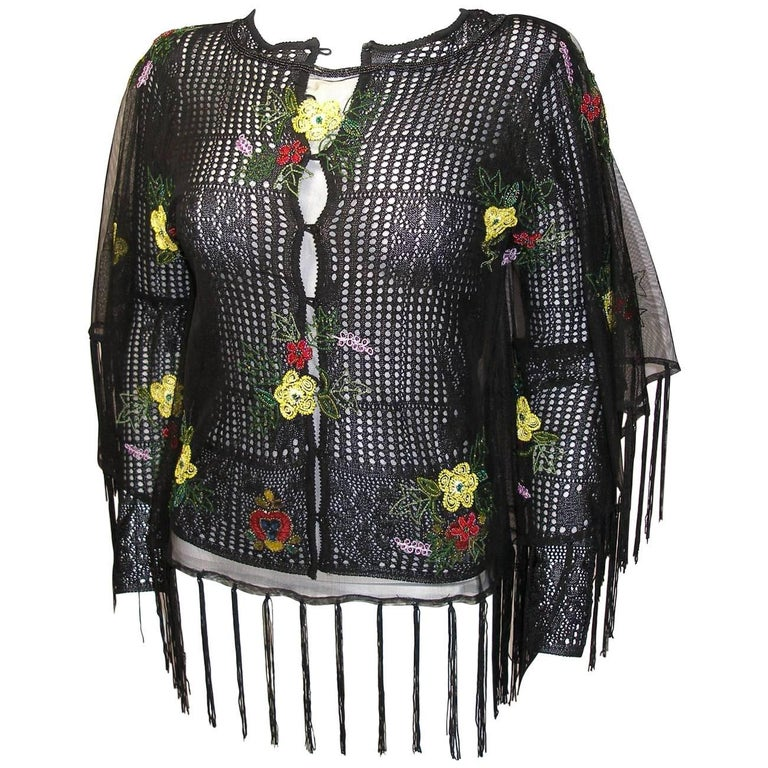 Vintage Christian Dior by John Galliano Set Cardigan and Poncho Embroidered XS
