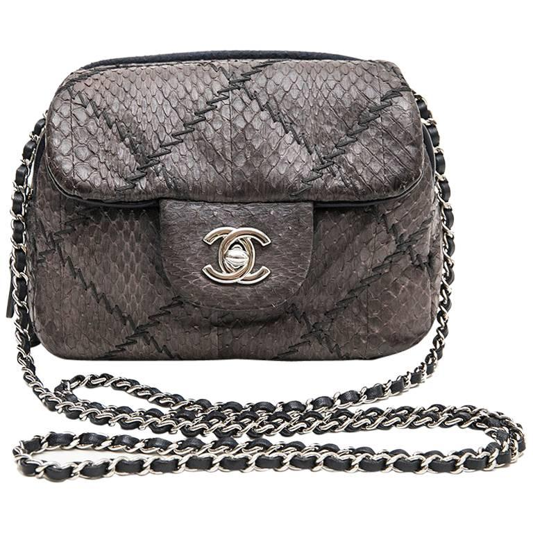 2271dc9994b8d7 CHANEL Mini Quilted Flap Bag in a Gradient of Purple Freshwater Snake  Leather For Sale