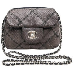 CHANEL Mini Quilted Flap Bag in a Gradient of Purple Freshwater Snake Leather