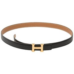 HERMES H Fine Belt in Black Box and Epsom gold leather