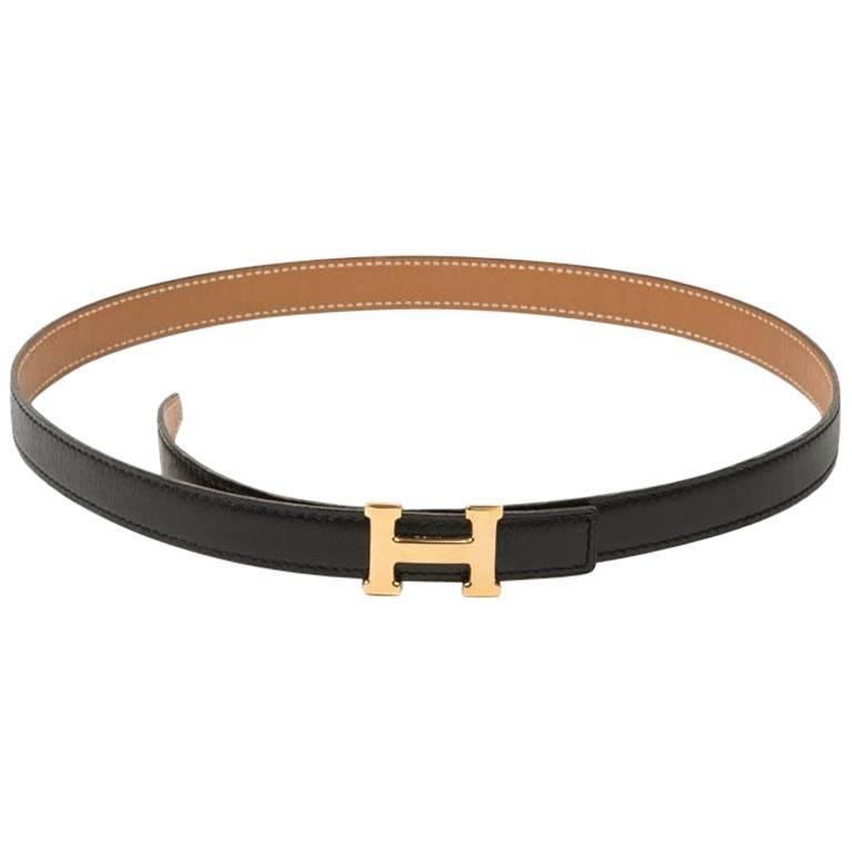 HERMES H Fine Belt in Black Box and Epsom gold leather