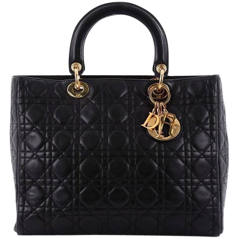 Christian Dior Lady Dior Handbag Cannage Quilt Lambskin Large