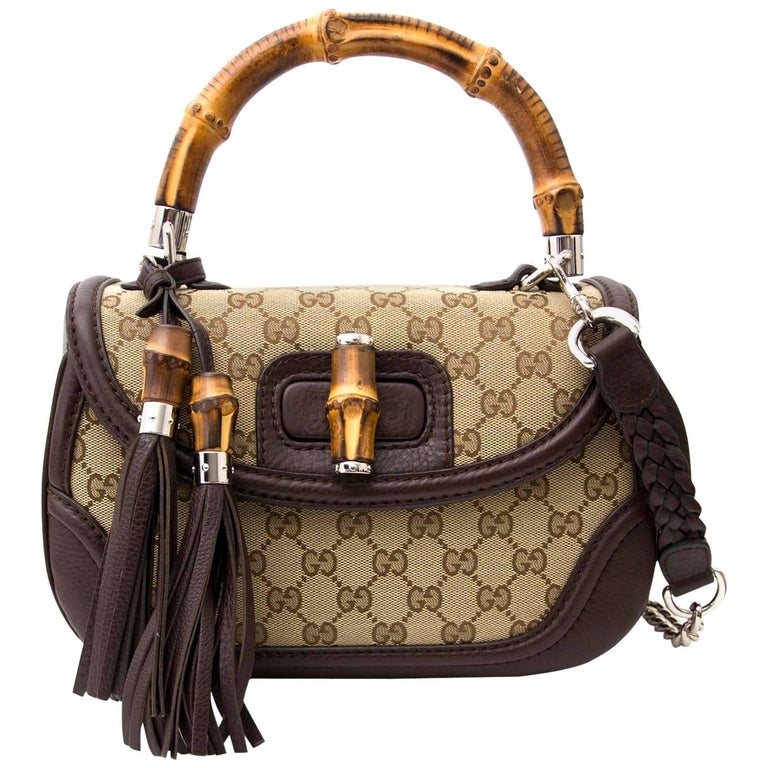 a14f05bb58b5 Gucci Bamboo Monogram Top Handle Bag at 1stdibs