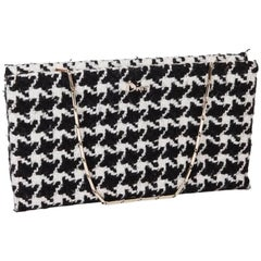 Christian Dior Set With a Top and a Clutch in Black and White Houndstooth fabric