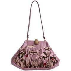 VALENTINO Mini Evening Bag in Purple Embroidered Silk