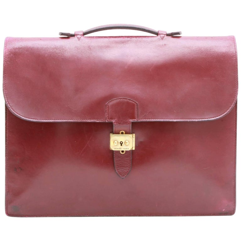 HERMES Vintage Satchel Bag in H Red Box Leather