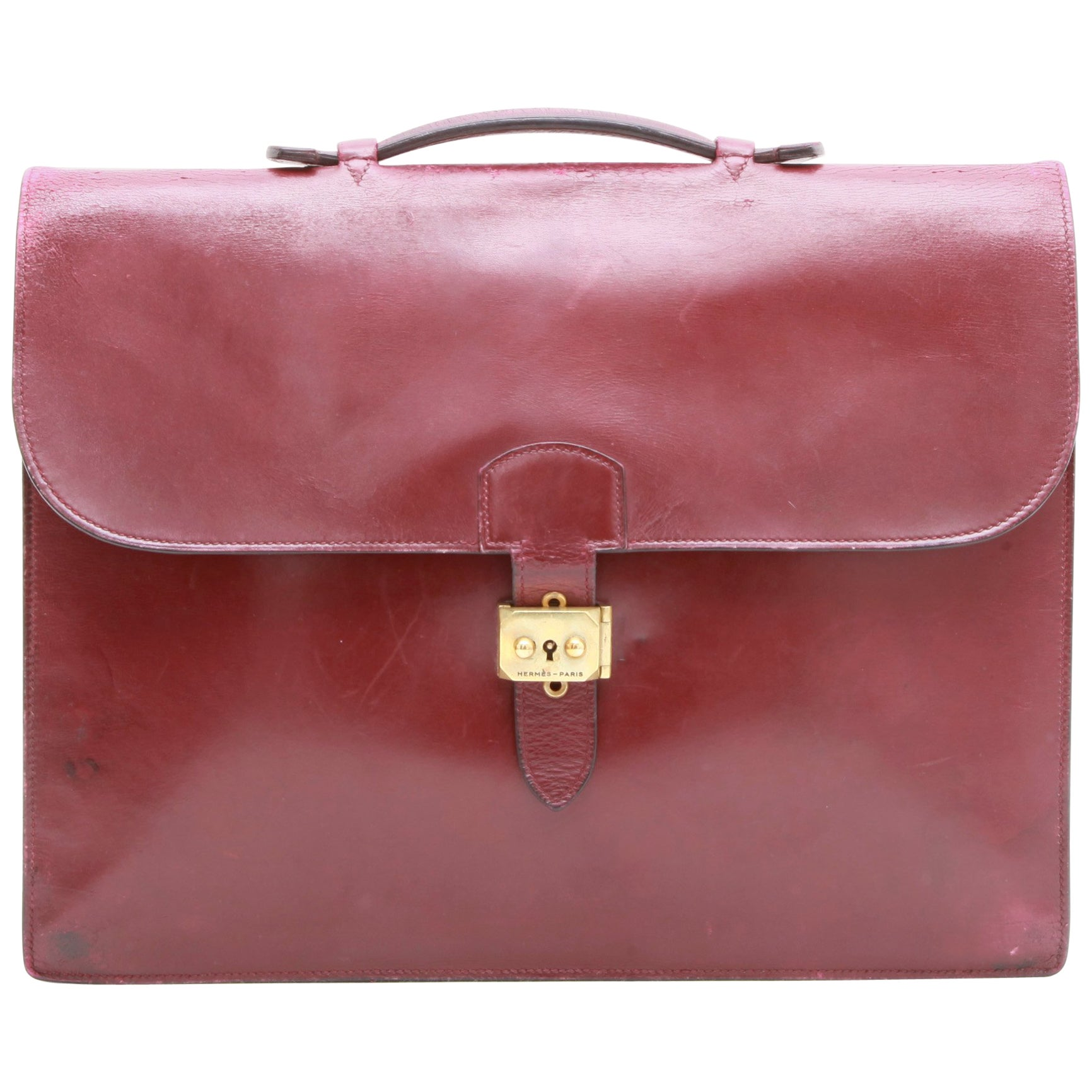 1db48002cddec HERMES Vintage Aktentasche in H Rote Lederbox bei 1stdibs
