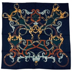 Hermès L'instruction du Roy Navy Silk Jacquard Scarf by Henri d'Origny