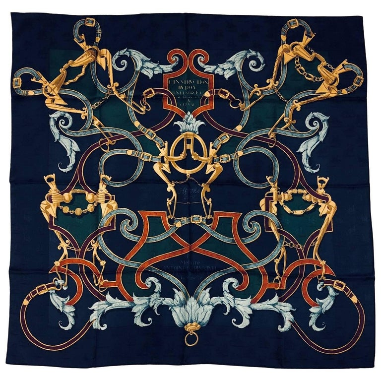 Hermès L'instruction du Roy Navy Silk Jacquard Scarf by Henri d'Origny