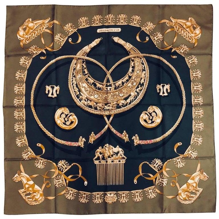 Hermès Spanish Olive Silk Carre Les Cavaliers D'Or by Vladimir Rybaltchenko