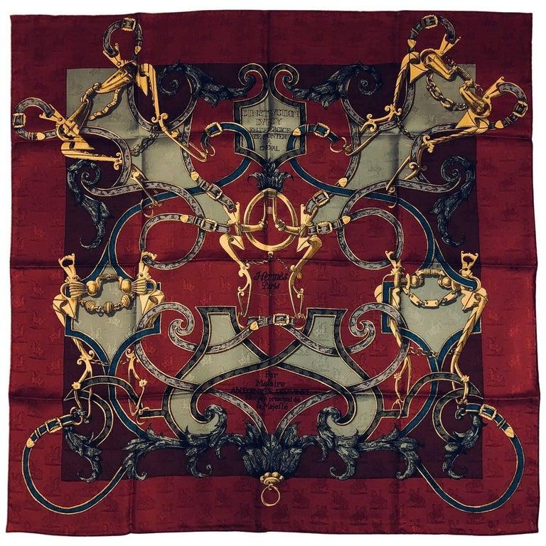 Hermès L'instruction du Roy Burgundy Silk Jacquard Scarf by Henri d'Origny