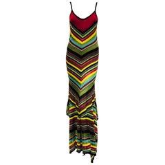Maximum Missoni Multi Color Chevron Designed Stripes Long Dress