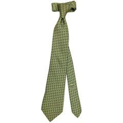"""Men's Handsome Hermes Neck Tie, Pistachio w Loop Pattern in  Darker Green, 60"""""""