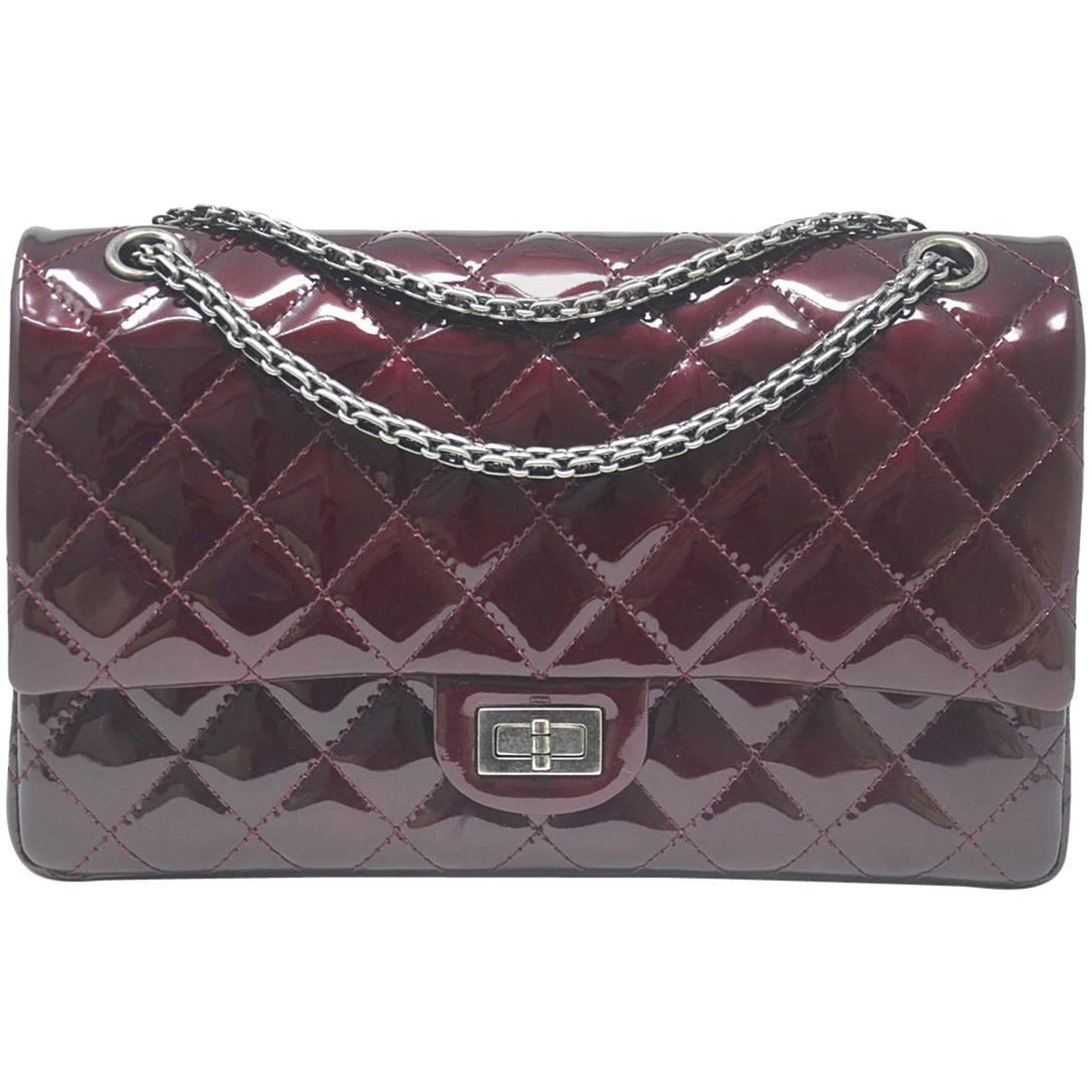 fd834231e9cff8 Chanel Burgundy Reissue Patent Leather 2.55 Classic Handbag at 1stdibs