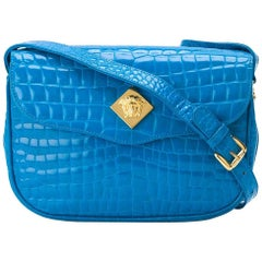 Versace Cerulean Crocodile Leather Bag, 2000s