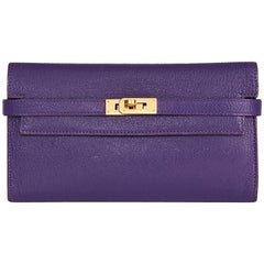 2010 Hermes Violet Chevre Mysore Leather Kelly Long Wallet