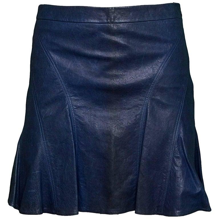 10 Crosby Derek Lam Blue Leather Flared Skirt Sz 0
