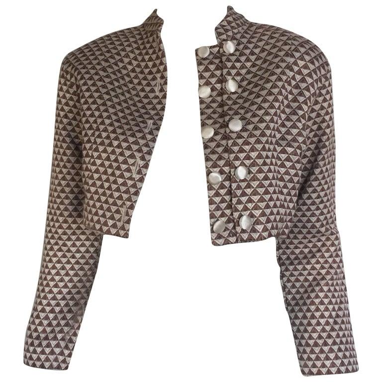 Geometric cotton cropped jacket