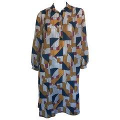Geometric print button down midi dress