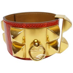 Hermès Bracelet CDC Collier de Chien Alligator Rouge Géranium Gold Hardware