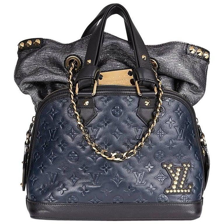 2009 Louis Vuitton Blue & Black Monogram Calfskin Leather Double Jeu Neo-Alma